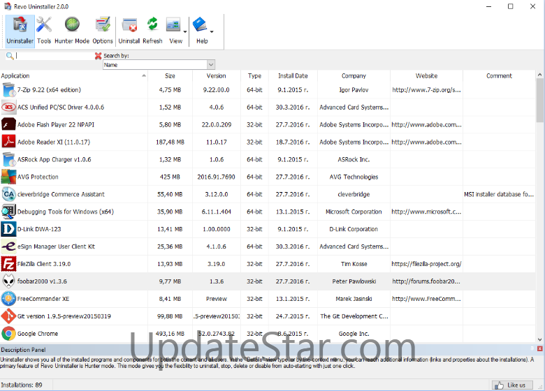 Screenshot Revo Uninstaller