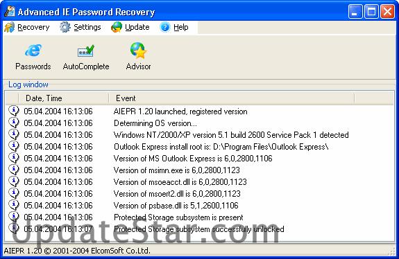 Advanced Internet Explorer Password Recovery 2.8.3